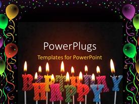 PowerPlugs: PowerPoint template with a number of candles with blackish background