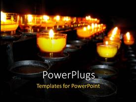 PowerPoint template displaying a number of candles with blackish background and place for text