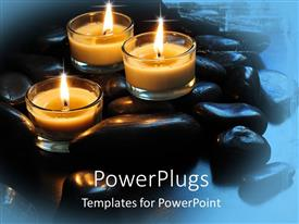PowerPlugs: PowerPoint template with a number of candles with bluish background