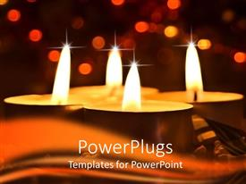 PowerPlugs: PowerPoint template with a number of candles burning with a background of city lights