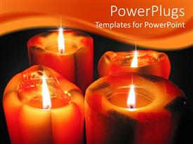 PowerPoint template displaying a number of candles burning together