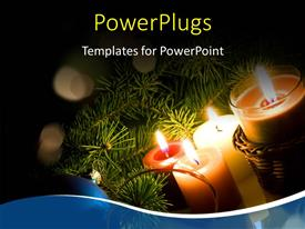 PowerPlugs: PowerPoint template with a number of candles with greenery in the background