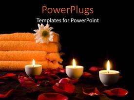 PowerPoint template displaying a number of candles with spa material in the background