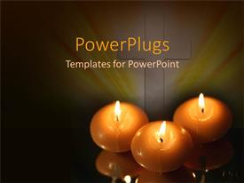 PowerPlugs: PowerPoint template with a number of candles with yellowish background