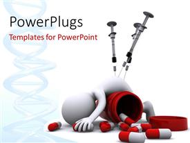 PowerPlugs: PowerPoint template with a number of capsules with a person being injected