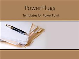 PowerPlugs: PowerPoint template with a number of cards with a pen and white background