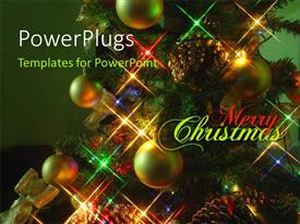 PowerPlugs: PowerPoint template with a number of celebration balls with greenish background