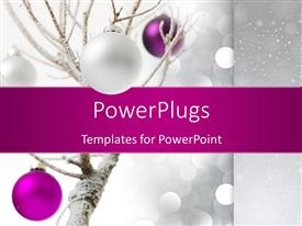 PowerPlugs: PowerPoint template with a number of celebration balls with tree in the background