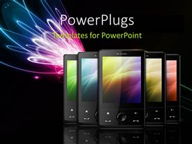 PowerPoint template displaying a number of cell phones with blackish background