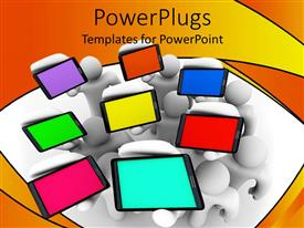 PowerPlugs: PowerPoint template with a number of cell phones with multicolored screens