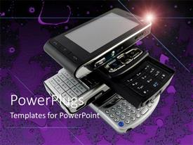 PowerPlugs: PowerPoint template with a number of cell phones with purple background and place for text