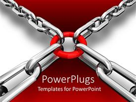 PowerPlugs: PowerPoint template with a number of chains with a circle and grayish background