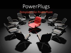 PowerPlugs: PowerPoint template with a number of chairs in a circle with a different one in the centre
