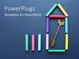 PowerPoint template displaying a number of chalks with bluish background