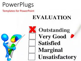 PowerPlugs: PowerPoint template with a number of check boxes with a person holding financial report