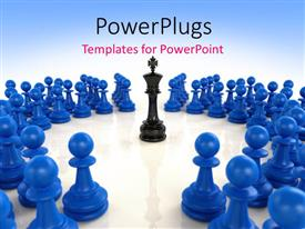 PowerPlugs: PowerPoint template with a number of chess pieces with a bluish background