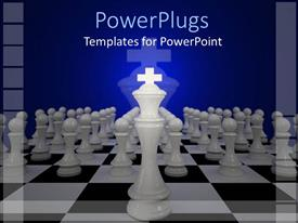 PowerPoint template displaying a number of chess pieces with bluish background