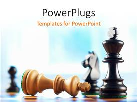 PowerPlugs: PowerPoint template with a number of chess pieces and bluish background