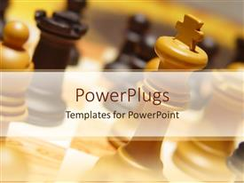 PowerPoint template displaying a number of chess pieces on the chess board with blurred background