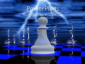 PowerPlugs: PowerPoint template with a number of chess pieces on the chess board with clouds in background