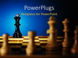 PowerPlugs: PowerPoint template with a number of chess pieces on the chess board with bluish background