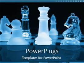 PowerPlugs: PowerPoint template with a number of chess pieces in glass form