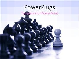PowerPlugs: PowerPoint template with a number of chess pieces with greyish background