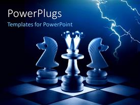 PowerPlugs: PowerPoint template with a number of chess pieces with lightning bolt in the background