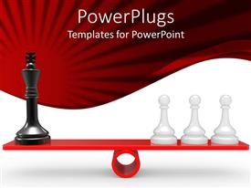PowerPoint template displaying a number of chess pieces with red background