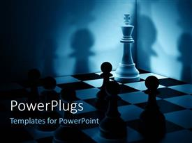 PowerPlugs: PowerPoint template with a number of chess pieces with shadows in the background