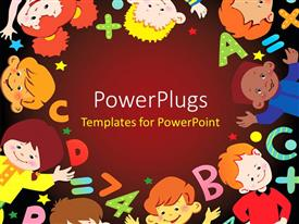 PowerPlugs: PowerPoint template with a number of children with alphabets