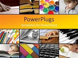 PowerPlugs: PowerPoint template with a number of children with the books