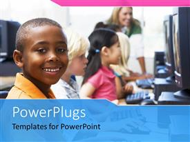 PowerPlugs: PowerPoint template with a number of children working on the computers