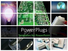 PowerPlugs: PowerPoint template with a number of chips and bulbs in the background with place for text