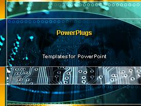 PowerPlugs: PowerPoint template with a number of circuits with bluish background