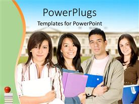 PowerPlugs: PowerPoint template with a number of classmates and college in the background