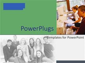 PowerPlugs: PowerPoint template with a number of classmates with greenish background