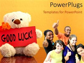 PowerPlugs: PowerPoint template with a number of classmates with a teddy bear and the word good luck