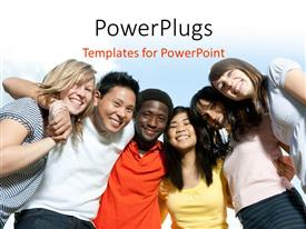 PowerPlugs: PowerPoint template with a number of classmates together with sky in the background