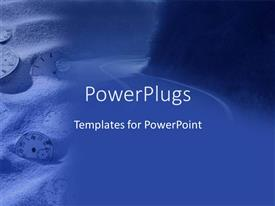PowerPoint template displaying a number of clocks in the sand