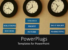 PowerPlugs: PowerPoint template with a number of clocks on a wall