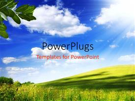 PowerPlugs: PowerPoint template with a number of clouds and greenery with leaves
