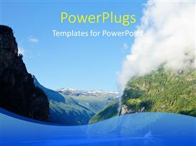PowerPlugs: PowerPoint template with a number of clouds and mountains with pace for text