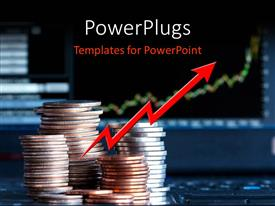 PowerPlugs: PowerPoint template with a number of coins with bluish background and place for text