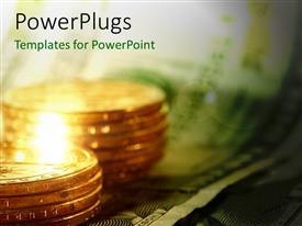 PowerPlugs: PowerPoint template with a number of coins with a dollar note