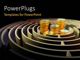 PowerPlugs: PowerPoint template with a number of coins inside a maze with blackish background