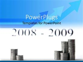 PowerPlugs: PowerPoint template with a number of coins piled up with arrows in the background