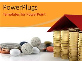 PowerPlugs: PowerPoint template with a number of coins together with stones