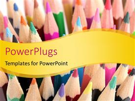 PowerPlugs: PowerPoint template with a number of color pecils with a place for text