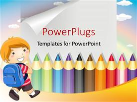 PowerPlugs: PowerPoint template with a number of color pencils with along with a kid